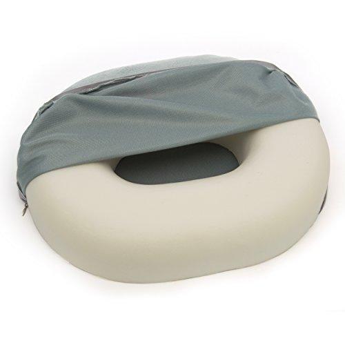 Hämorrhoiden Kissen, formstabiler Sitzring - oval - schmerzlindernd bei Bandscheibenleiden, Kreuzbein und Rückenschmerzen, mit weichem abnehmbarem Bezug (40 x 30 x 6 cm)
